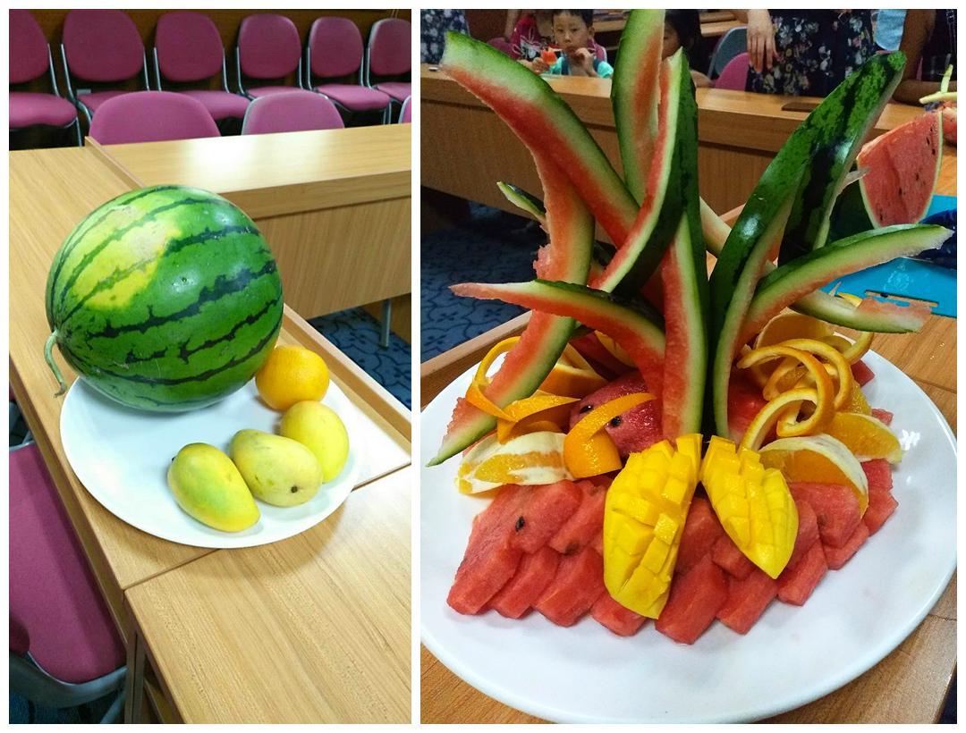 教了我们如何制作简单易学的水果拼盘,也给我们演示了西瓜家常的切法.